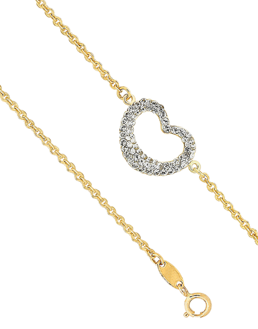 CZ Bracelet - 9ct Yellow Gold Crystal Heart Bracelet - 760156