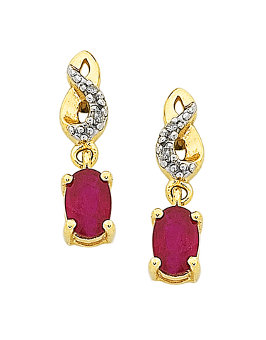 Ruby Earrings - Yellow Gold Ruby & Diamond Earrings - 761109