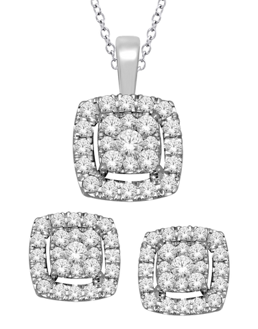 Diamond - Matching Diamond Pendant & Earrings Set - 763083