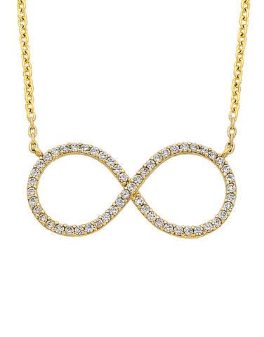 CZ Necklace - Yellow Gold CZ Necklet - 763748