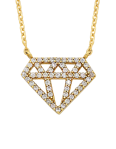 CZ Necklace - Yellow Gold CZ Necklet - 763752