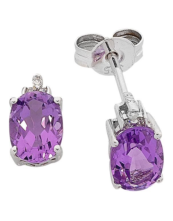 Amethyst Earrings - White Gold Amethyst and Diamond Earrings - 763766