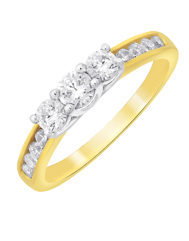 Diamond Ring - Two Tone Diamond Trilogy Engagement Ring - 764232