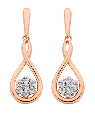 Diamond Earrings - 10ct Rose Gold Diamond Set Earrings - 764908