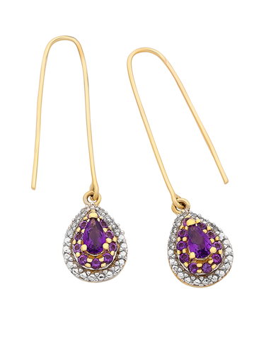 Amethyst Earrings - Yellow Gold Amethyst and Diamond Earrings - 766265