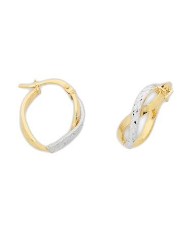 Gold Fusion Earrings - Two Tone Twist Hoop Earrings - 769035