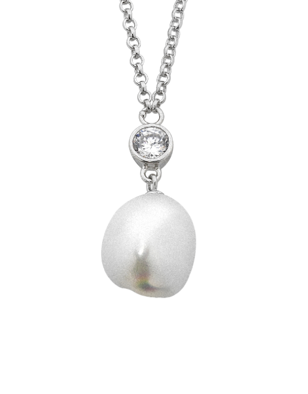 Pearl Pendant - Sterling Silver Pearl and CZ Necklet - 748320 - Salera's Melbourne, Victoria and Brisbane, Queensland Australia