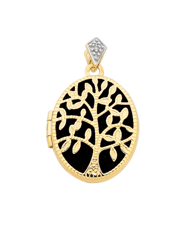Gold Pendant - 9ct Yellow Gold Tree of Life Locket - 756386 - Salera's Melbourne, Victoria and Brisbane, Queensland Australia