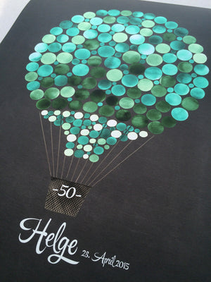 Original Unique Guest Book Print - Hot Air Balloon