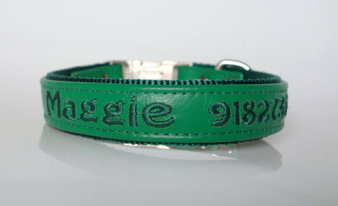 Personalized Leather Dog Collar With Nylon Lining 1 Inch Width