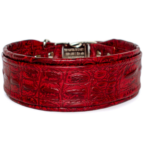 Dog Collar Thick and Wide Width Tapered To 1 Inch Side Release Quick Release Buckle Burgundy Color