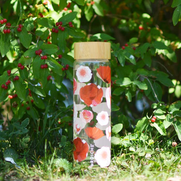 Glass Water Bottle: Venice Red Poppy Flowers 670 ml /22.6 fl. oz - Pack of 4
