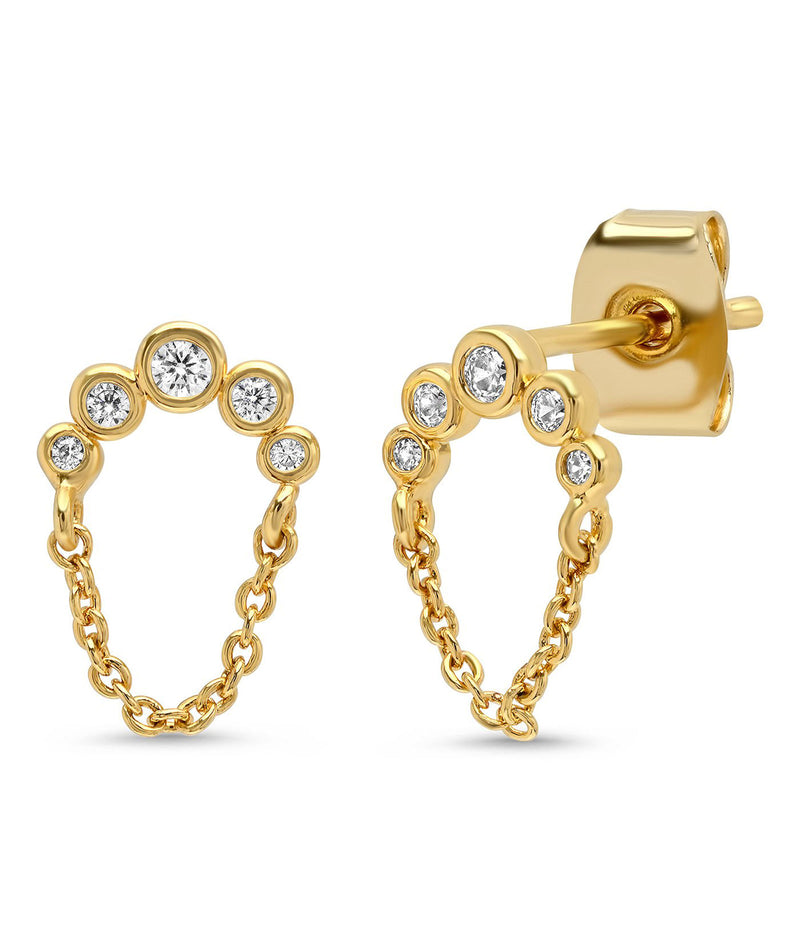Tai CZ Dangle Chain Studs