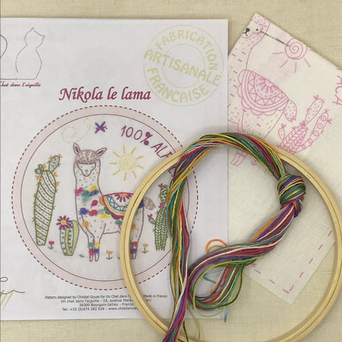 French Embroidery Kit - Llama