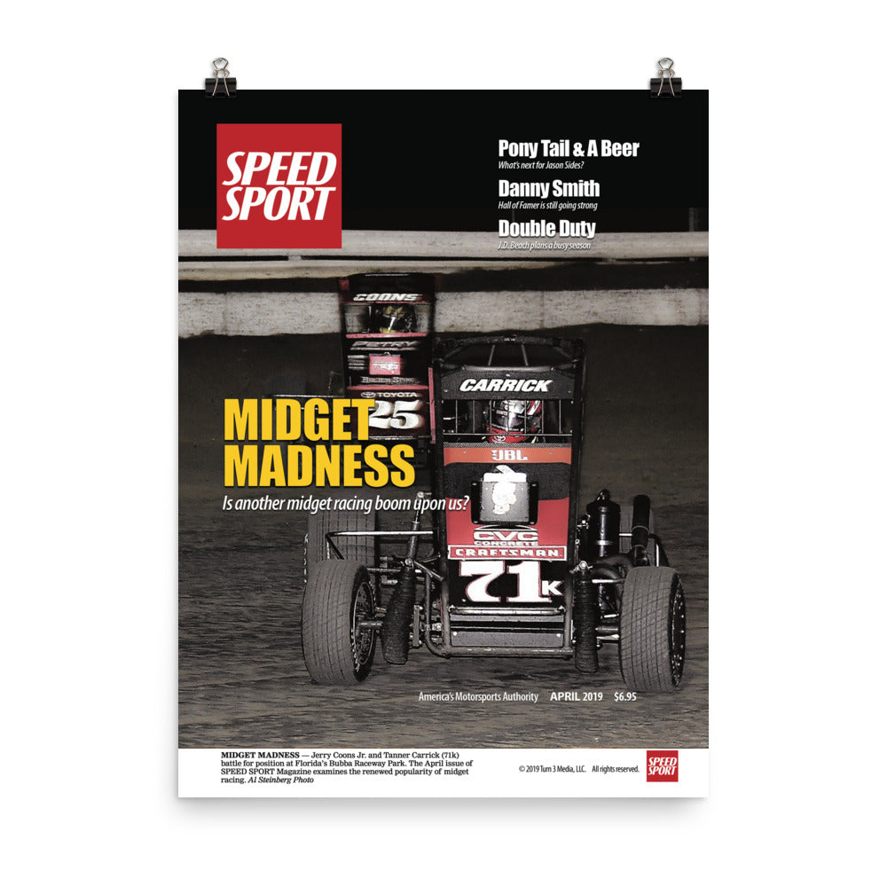 SPEED SPORT Magazine April 2019 Cover Art Poster featuring MIDGET MADNESS