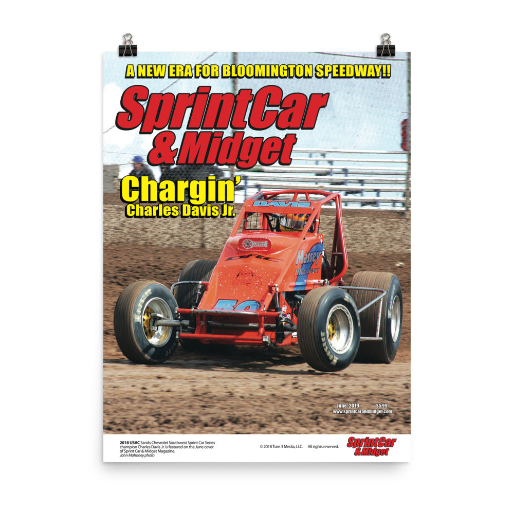 Sprint Car & Midget Magazine June 2019 Cover Art Poster featuring Charles Davis Jr.
