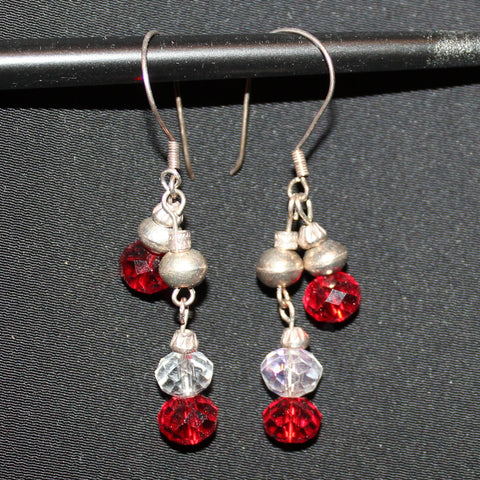 Susan M - Red & Clear Crystal Earrings