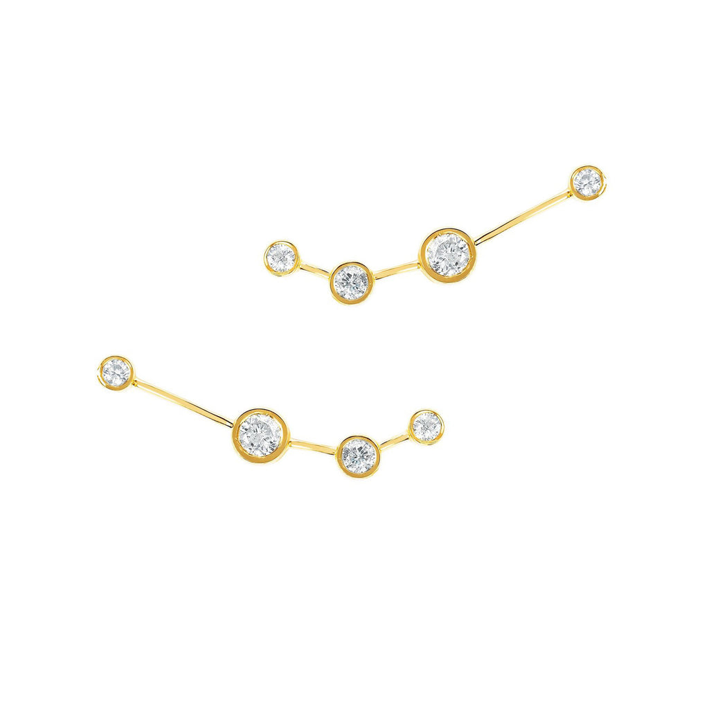 Aries Diamond Constellation Studs Yellow Gold