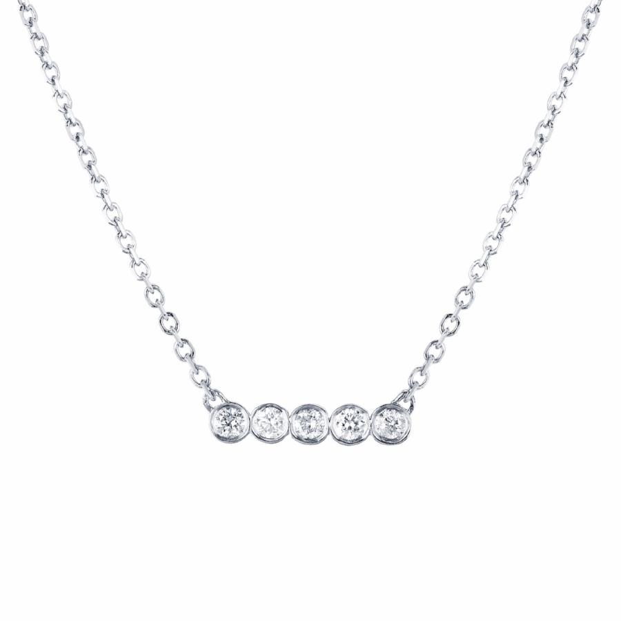 5 Diamond Star Line Necklace White Gold