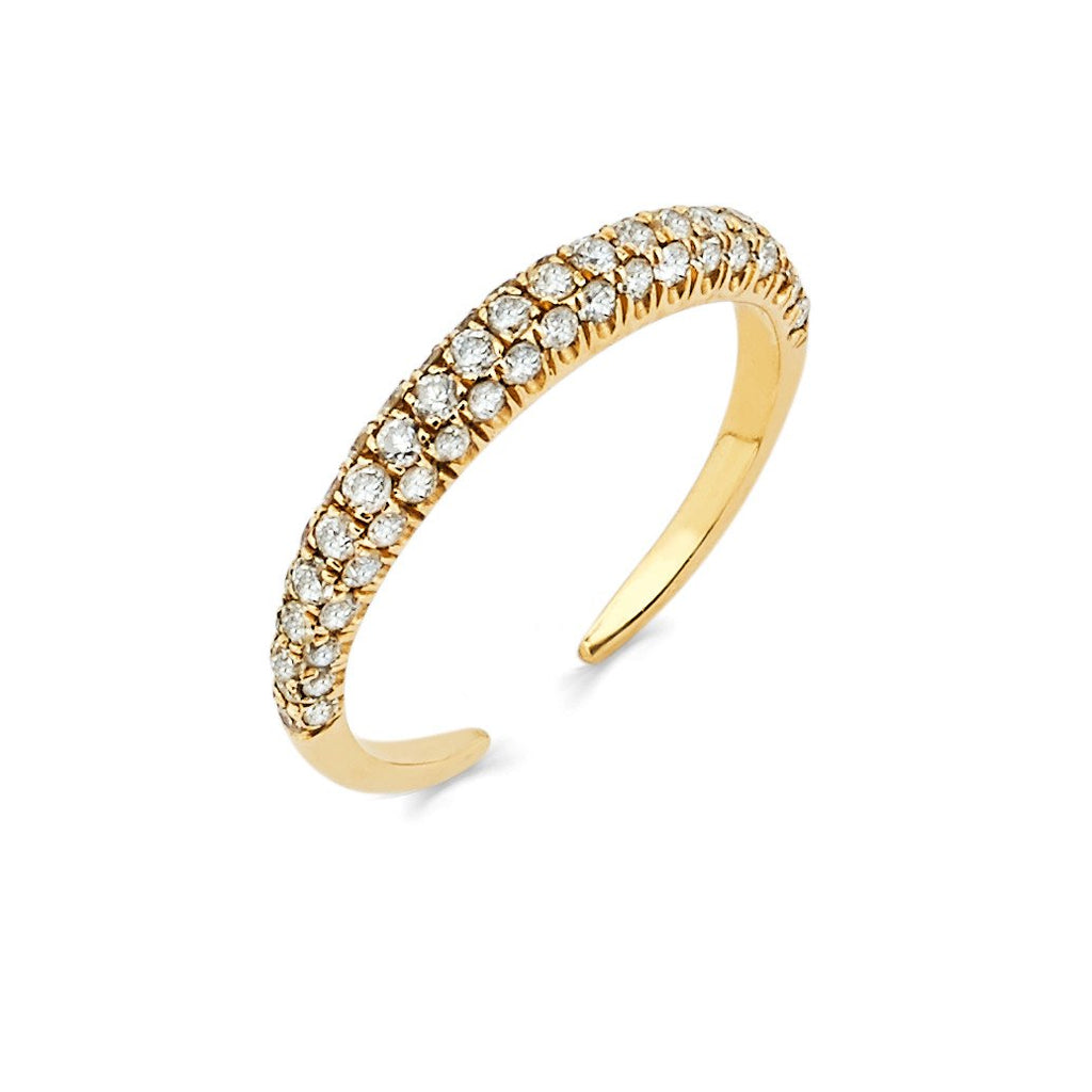 Micro Pavé Diamond Band Large Yellow Gold