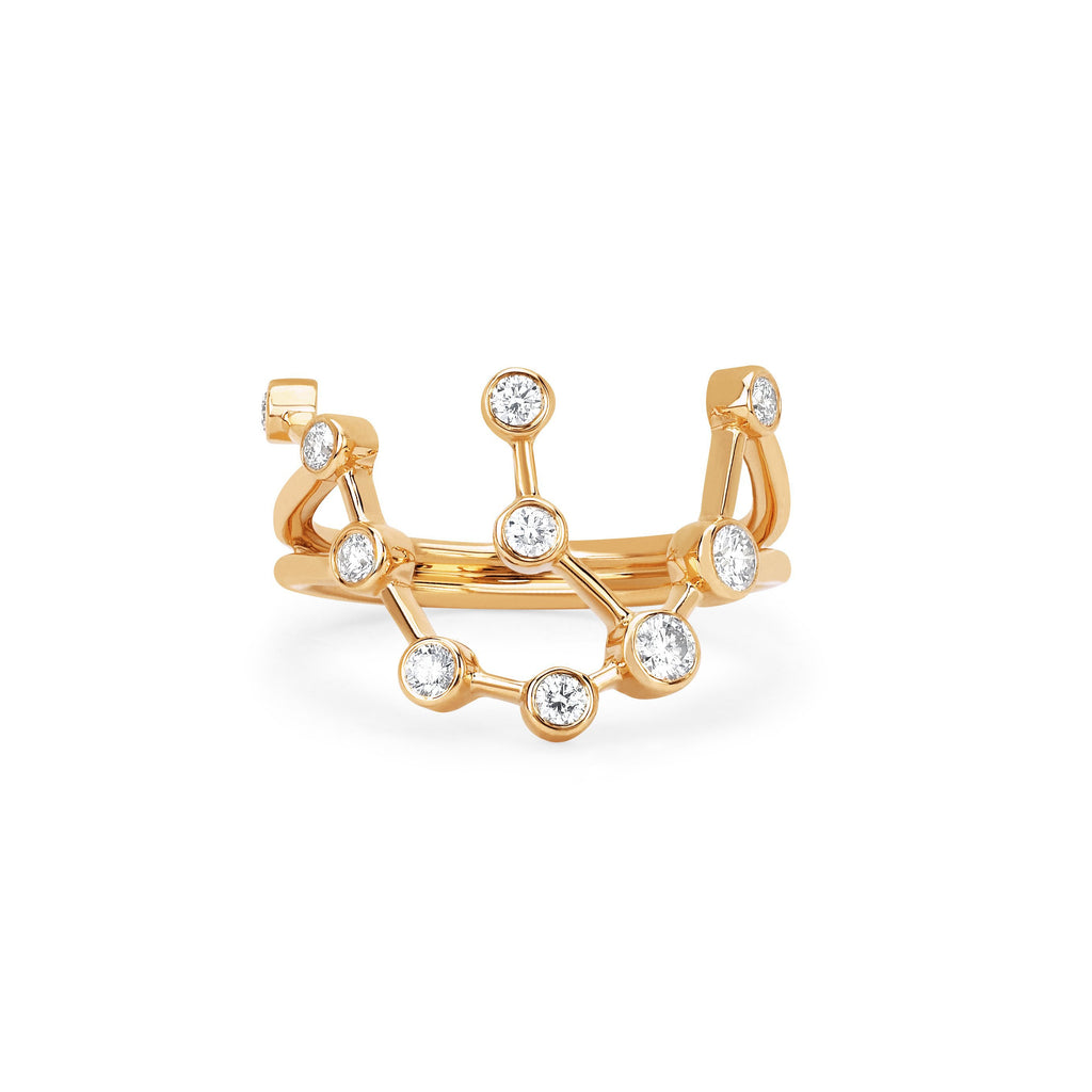 Aquarius Constellation Ring Yellow Gold