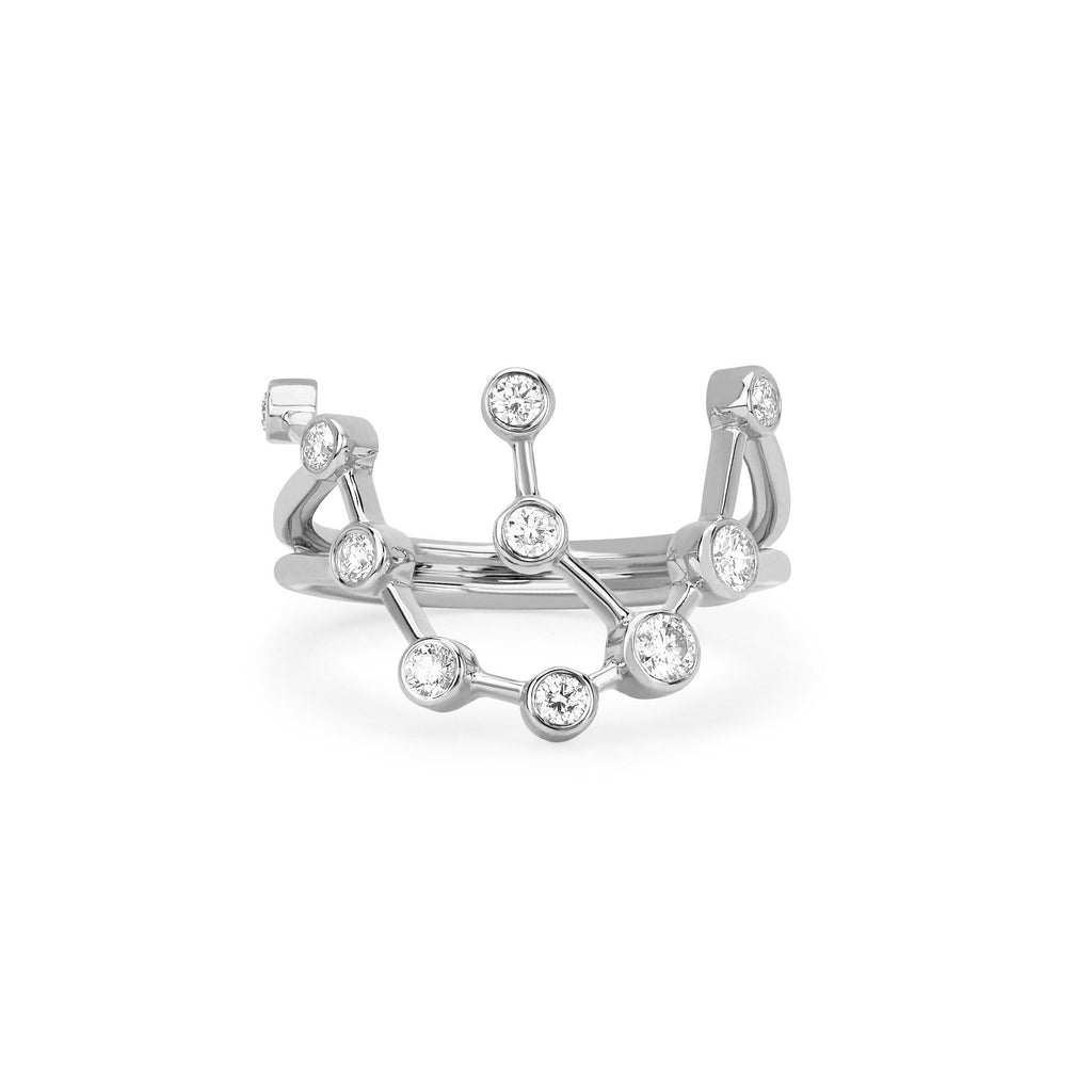 Aquarius Constellation Ring White Gold