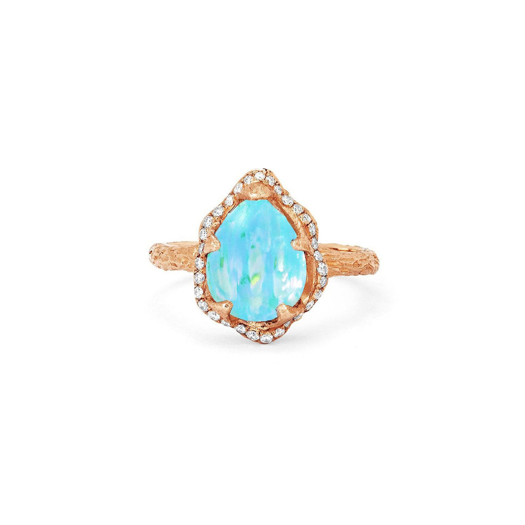 Baby Queen Water Drop Blue Opal Ring with Full Pavé Halo Baby Queen Water Drop Blue Opal Ring with Full Pavé Halo