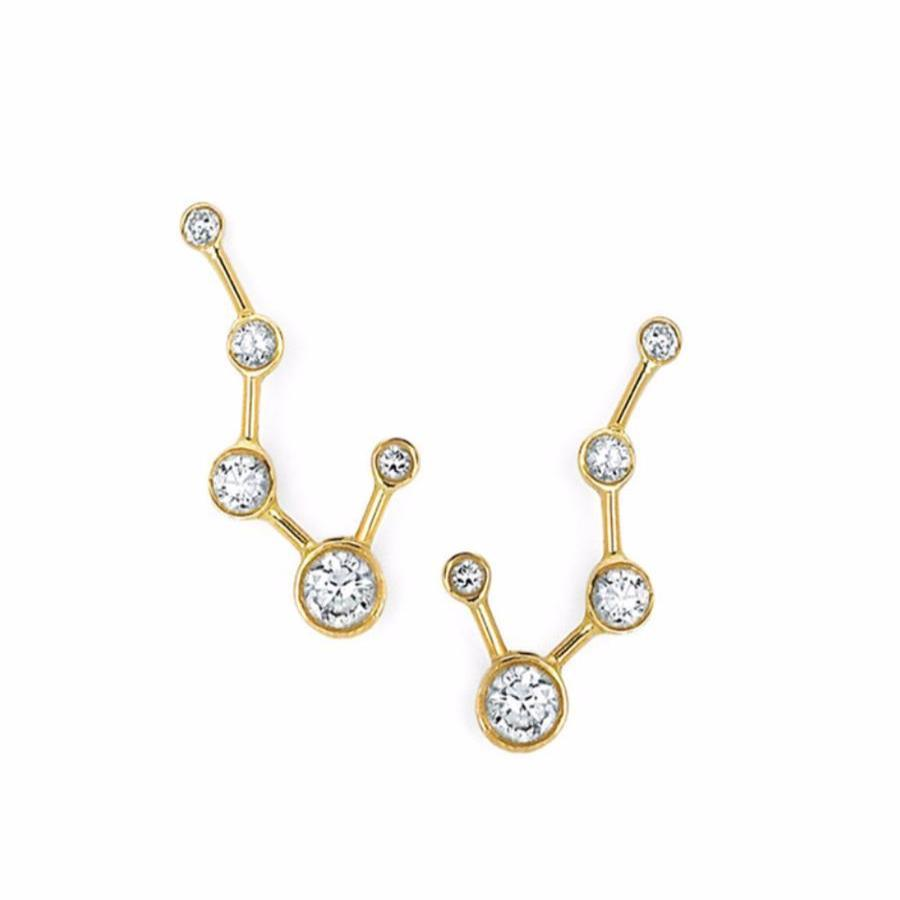 Big Dipper Diamond Constellation Earrings Yellow Gold