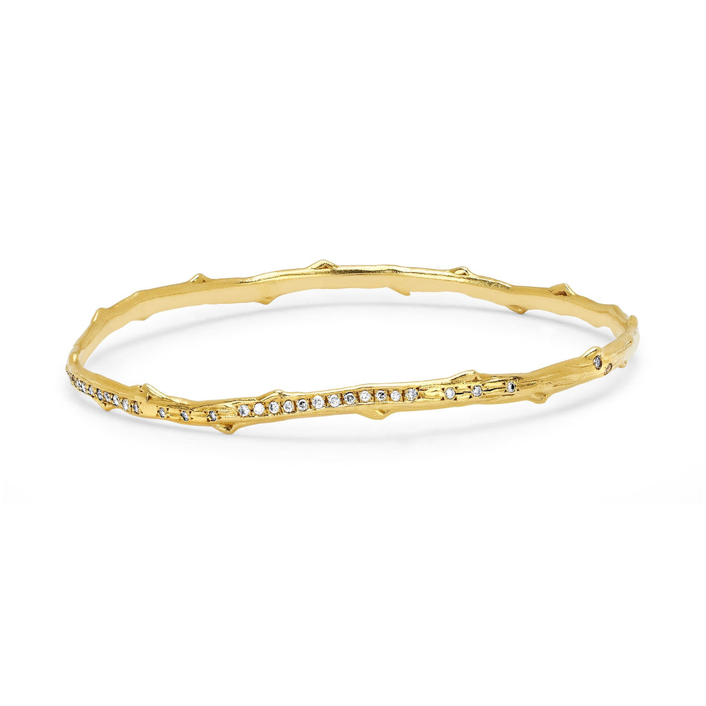 Pavé Diamond Rose Thorn Bangle Yellow Gold