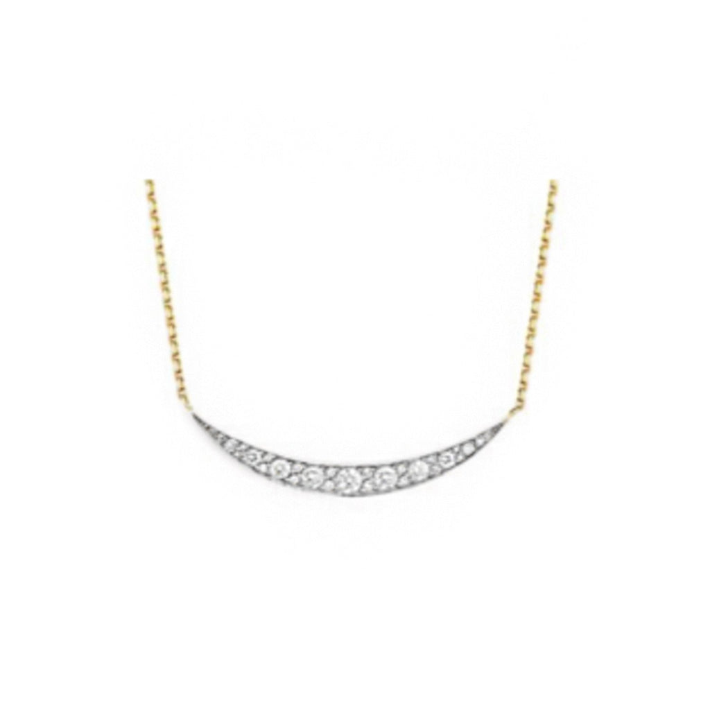 Constellation Diamond Crescent Necklace Yellow Gold