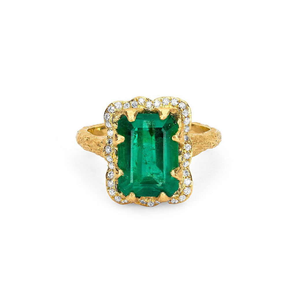 NEW! Emerald Cut Emerald Ring with Full Pavé Halo Yellow Gold