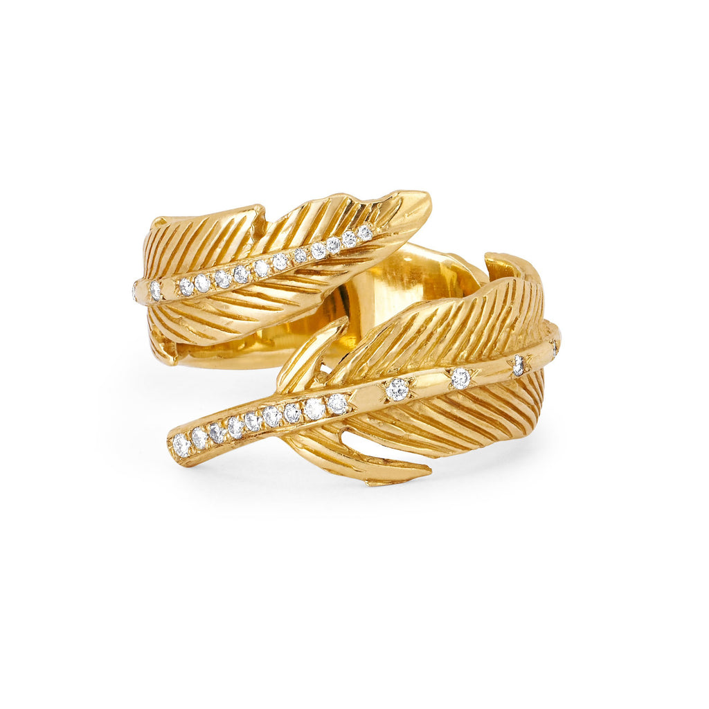 Angel Feather Wrap Ring Yellow Gold