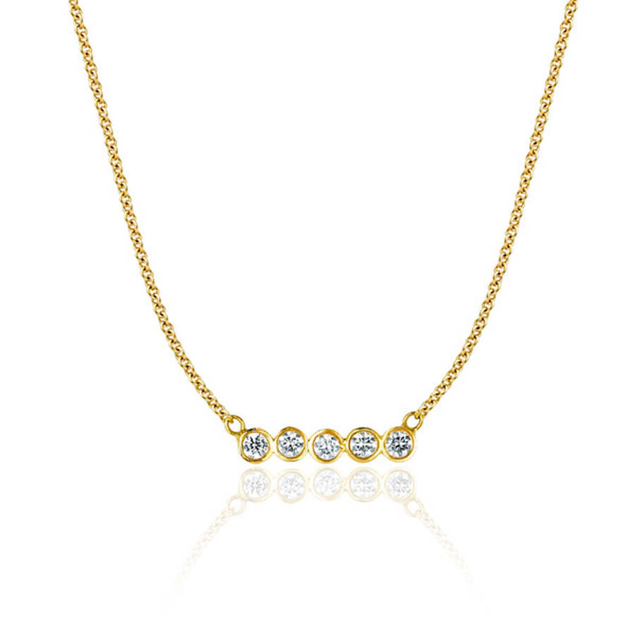 5 Diamond Star Line Necklace Yellow Gold