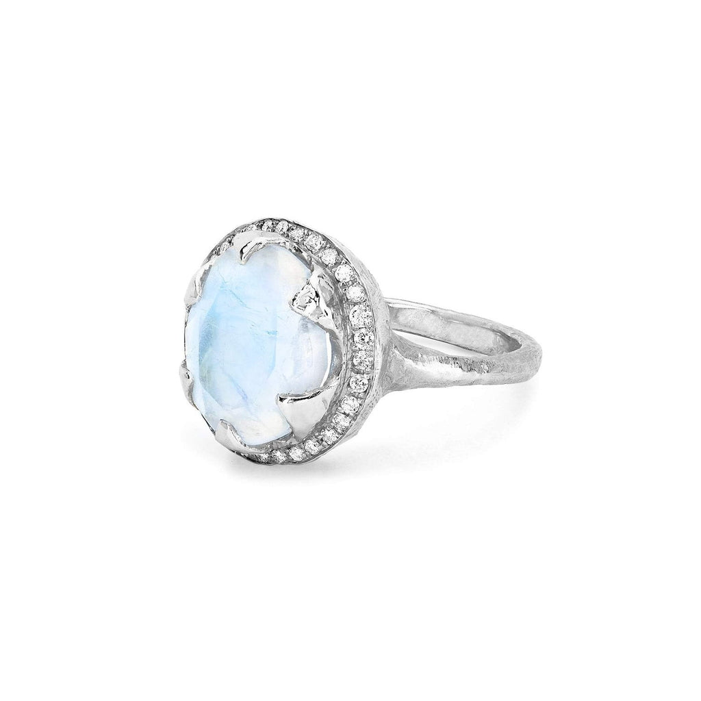 Queen Diamond and Oval Moonstone Ring with Full Pavé Halo Queen Diamond and Oval Moonstone Ring with Full Pavé Halo