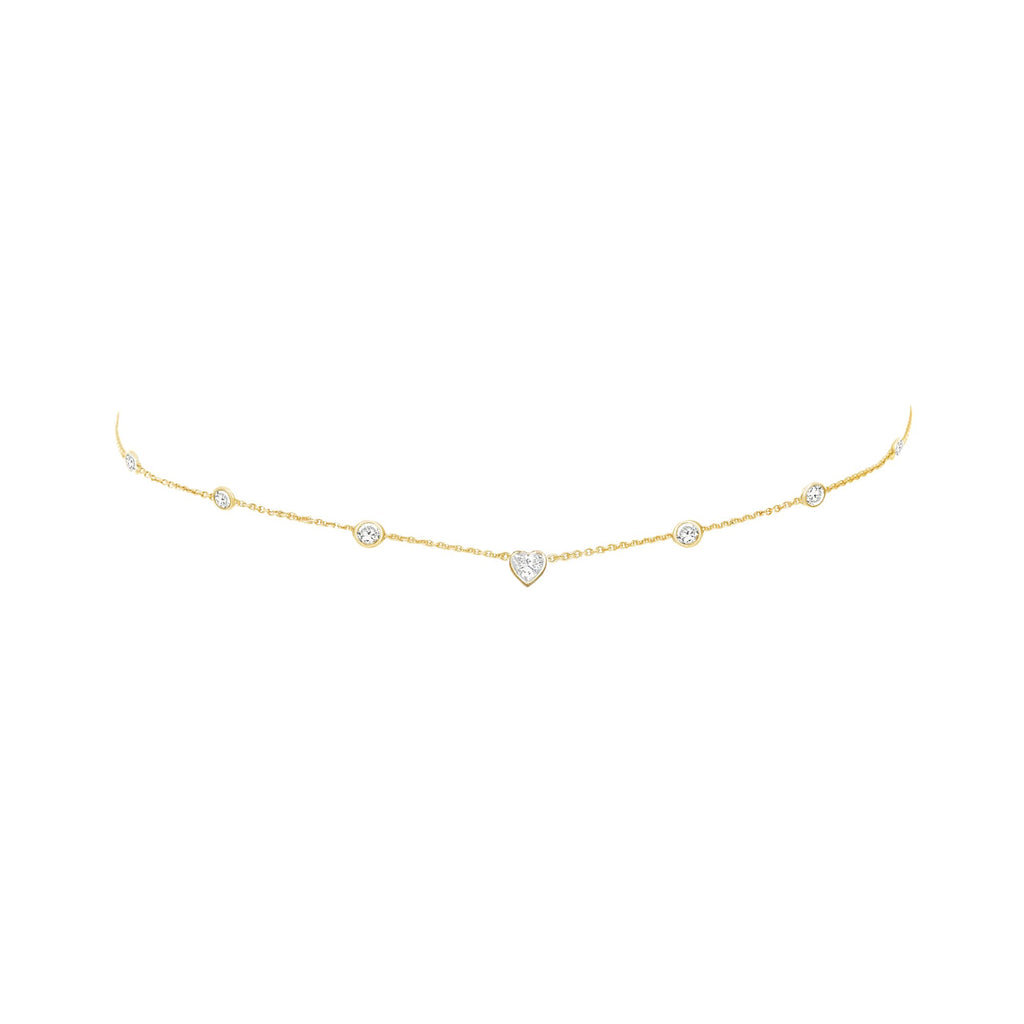 7 Diamond Heart of Light Orbit Choker with Heart Center Yellow Gold