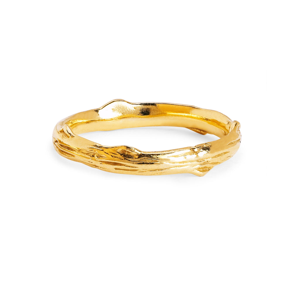 Rose Thorn Solid Band Yellow Gold