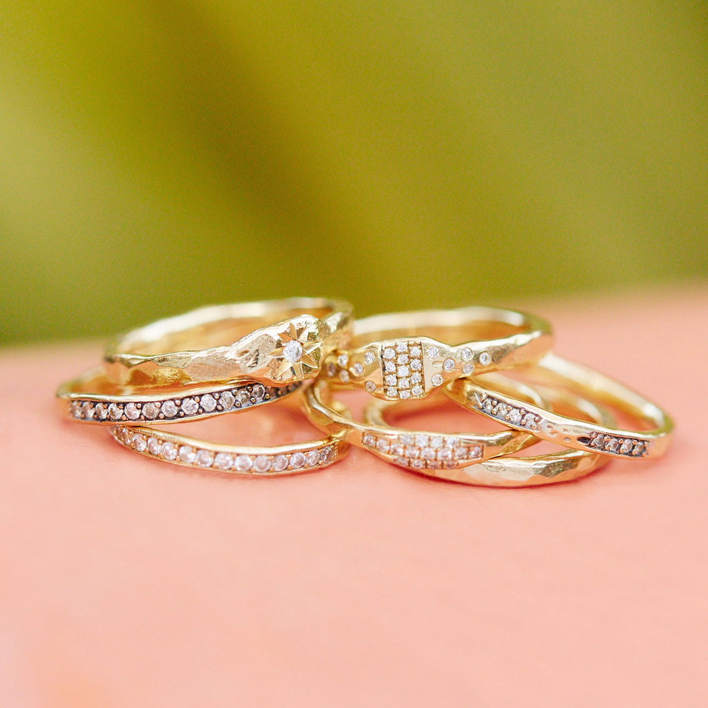 4 Diamond Row Stack Ring custom rings