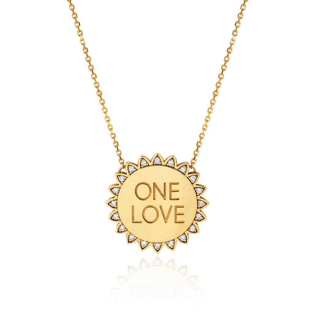 Classic ONE LOVE Sunshine Necklace with Diamonds Yellow Gold