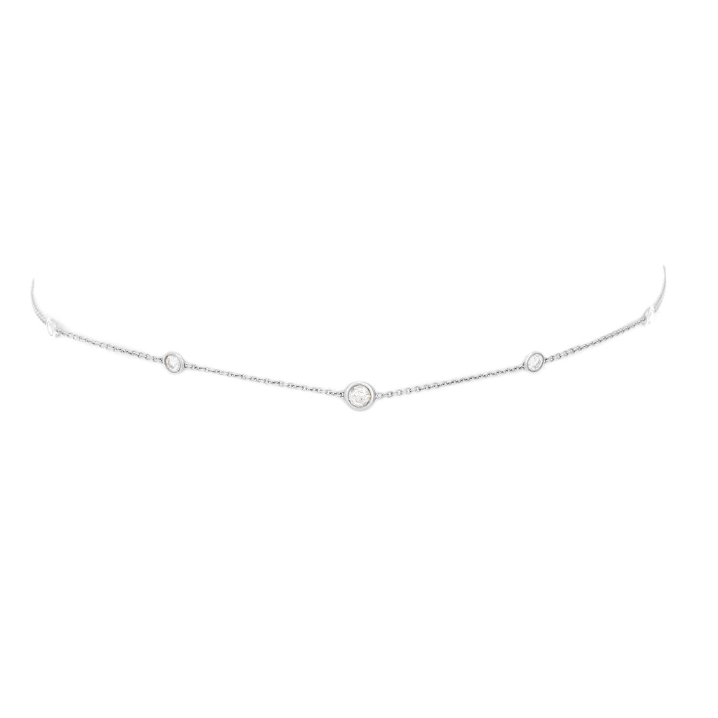 5 or 7 Diamond Orbit Bezel Choker White Gold