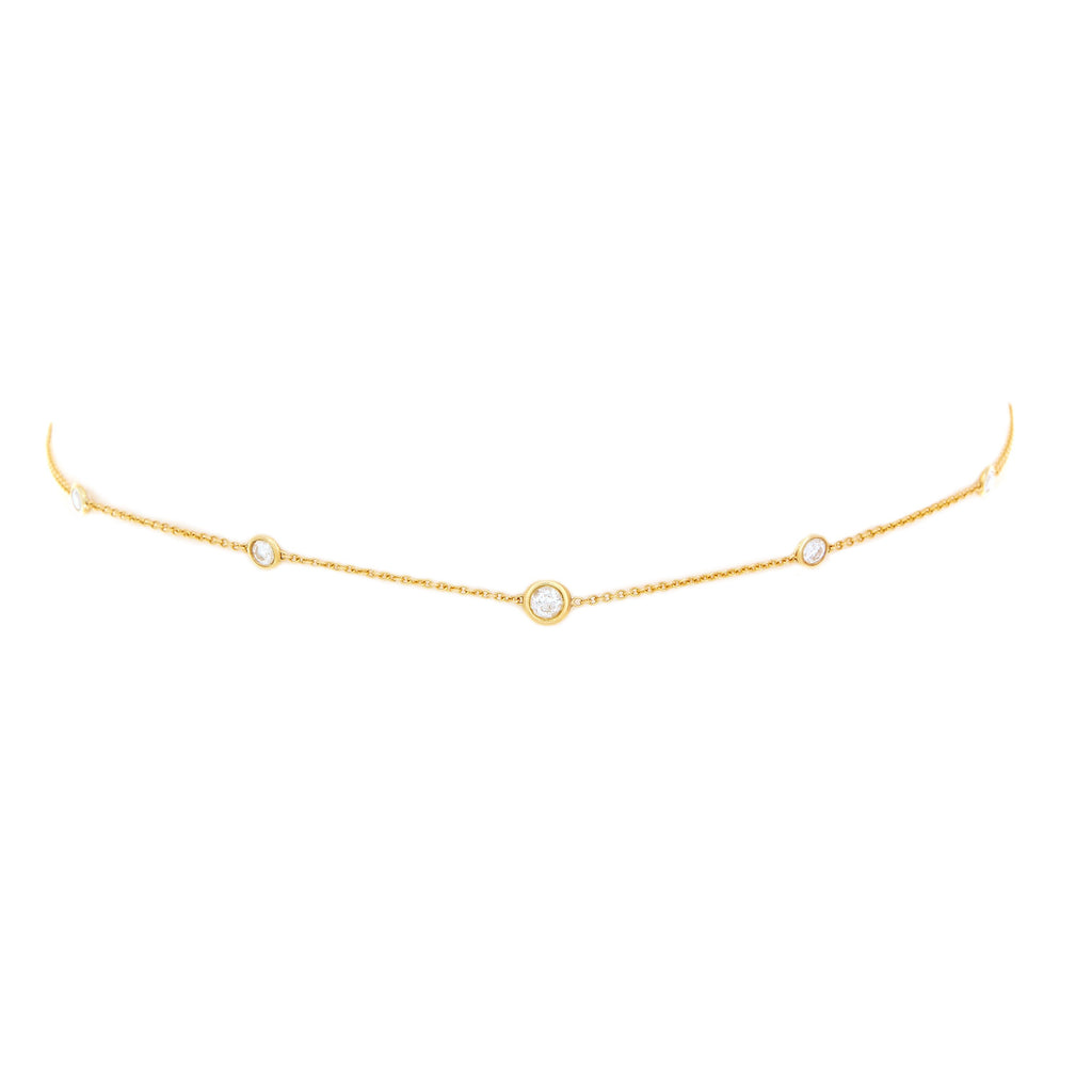 5 or 7 Diamond Orbit Bezel Choker Yellow Gold