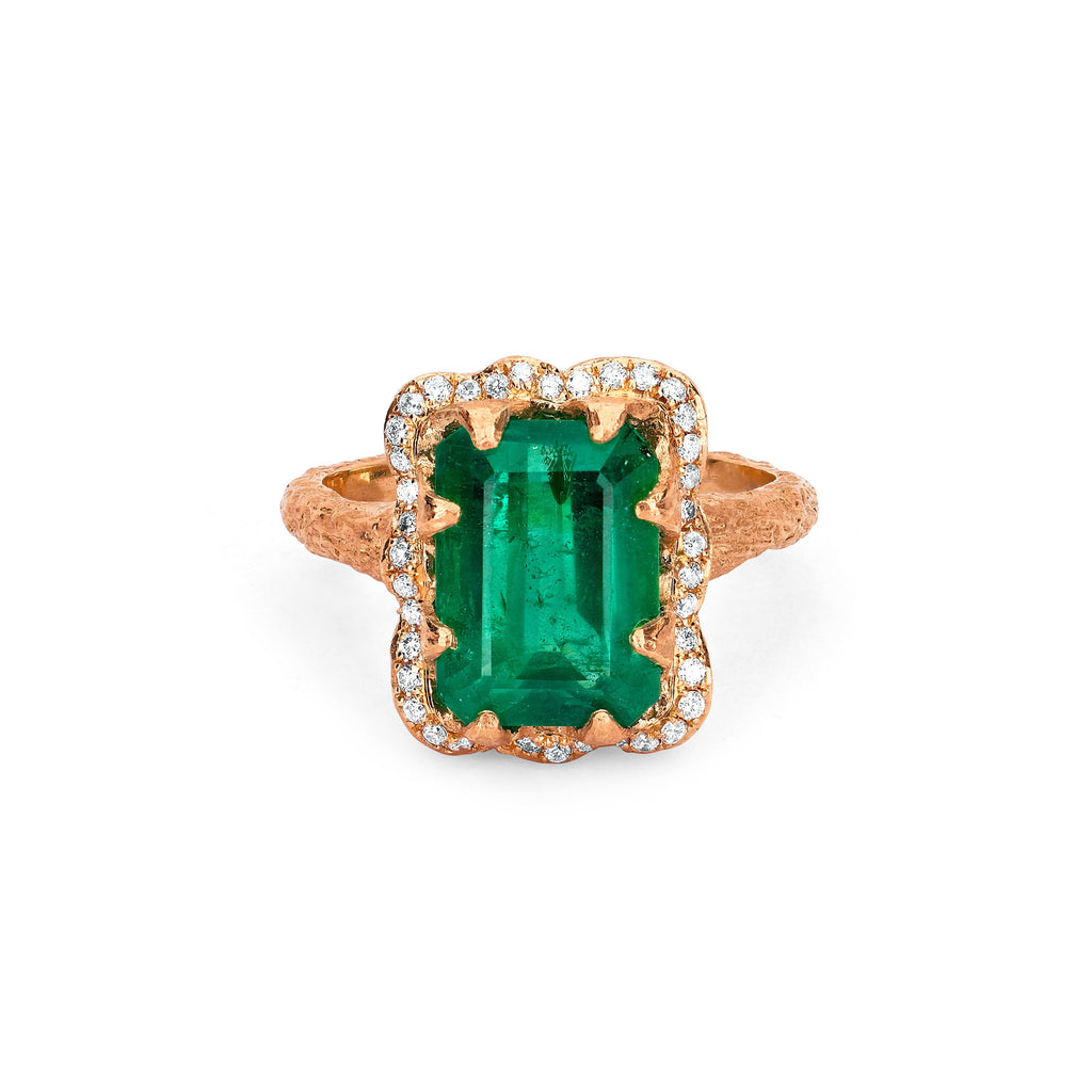 NEW! Emerald Cut Emerald Ring with Full Pavé Halo Rose Gold