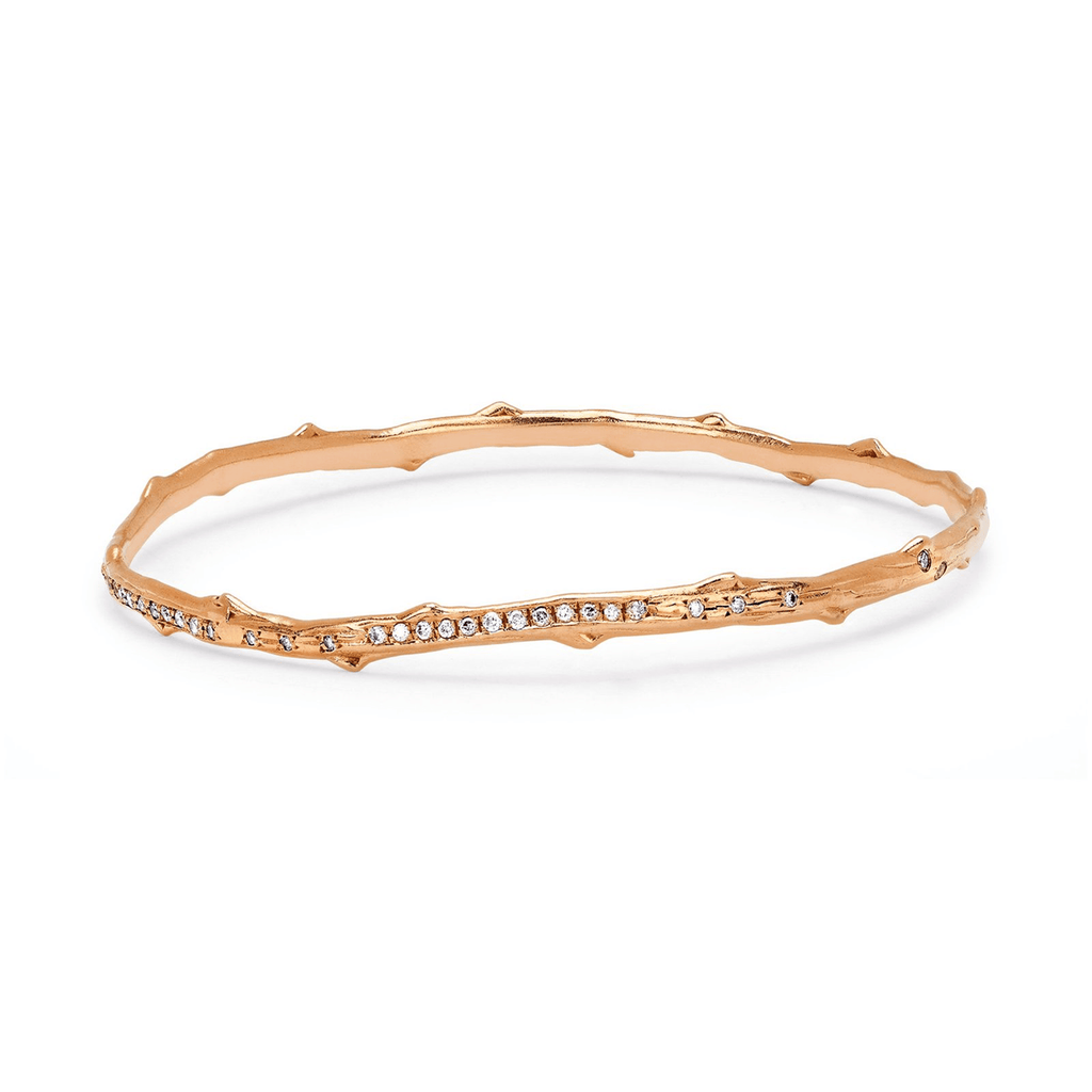Pavé Diamond Rose Thorn Bangle Rose Gold