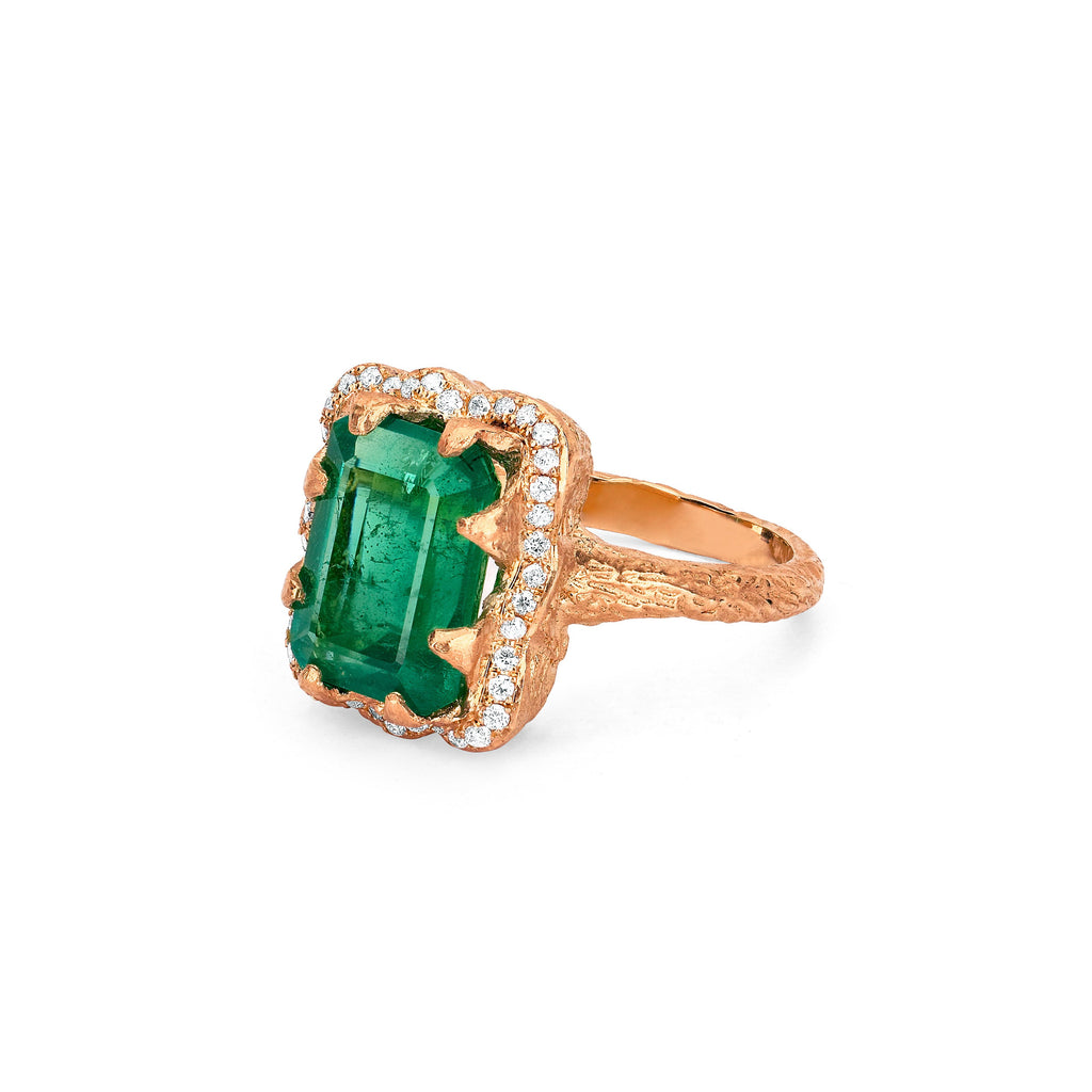 NEW! Emerald Cut Emerald Ring with Full Pavé Halo NEW! Emerald Cut Emerald Ring with Full Pavé Halo