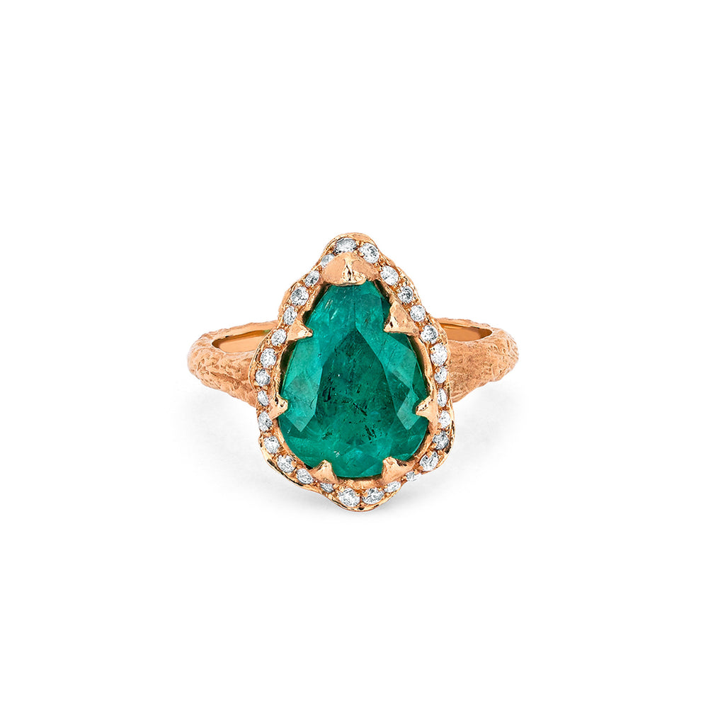 Premium Water Drop Colombian Emerald Queen Ring with Full Pavé Halo Rose Gold