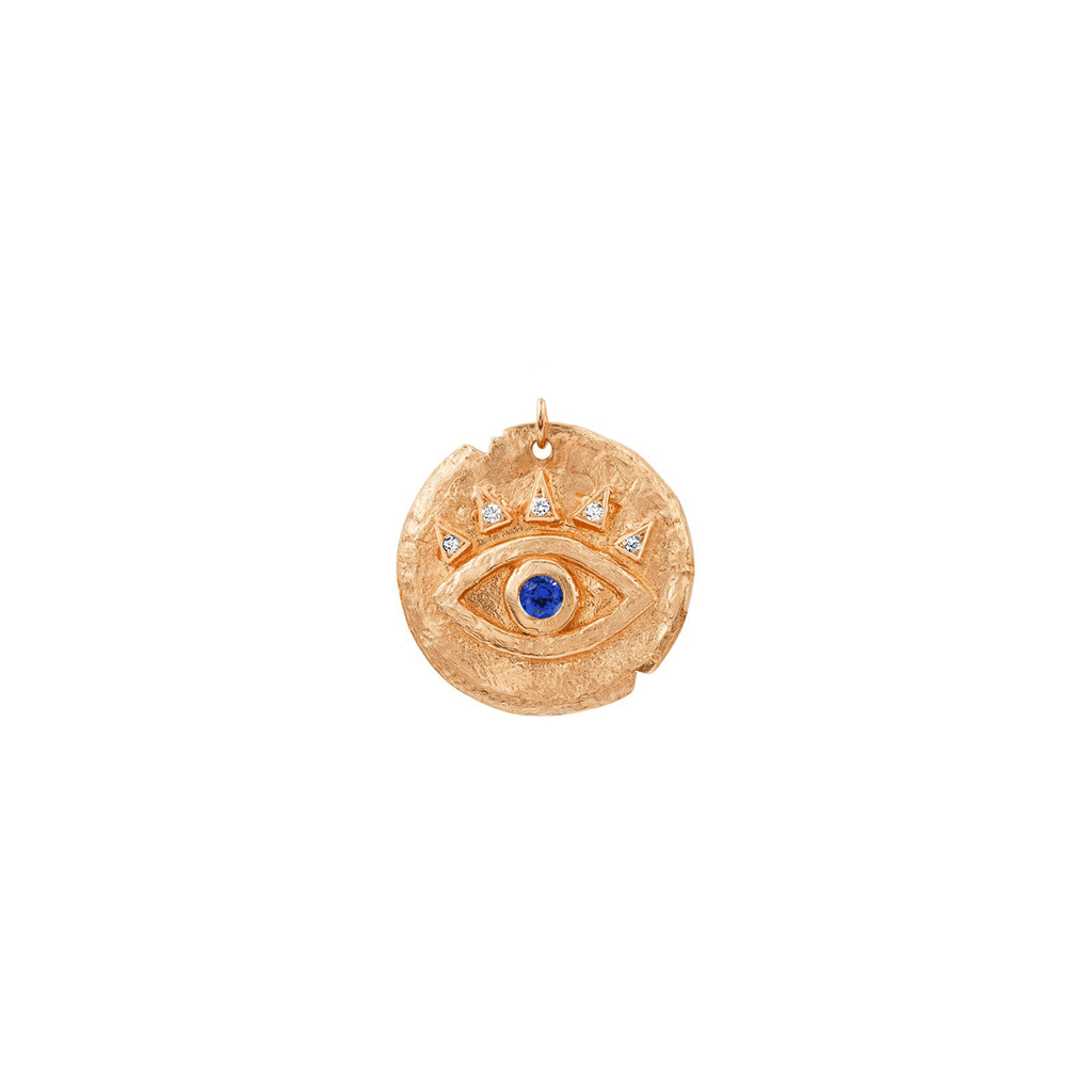 Sapphire Baby Eye of Protection Coin Charm Rose Gold