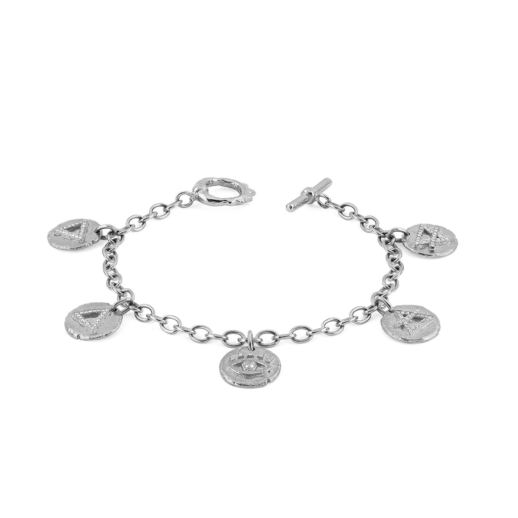 NEW! Alchemy Elements Charm Bracelet with Solid Unity Toggle White Gold