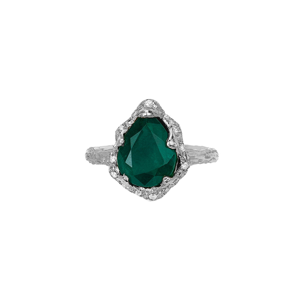Baby Queen Water Drop Emerald Ring with Sprinkled Diamonds White Gold