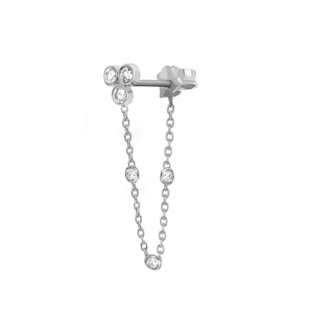 Star Shower 3 Diamond Bezel Chain Earring Star Shower 3 Diamond Bezel Chain Earring