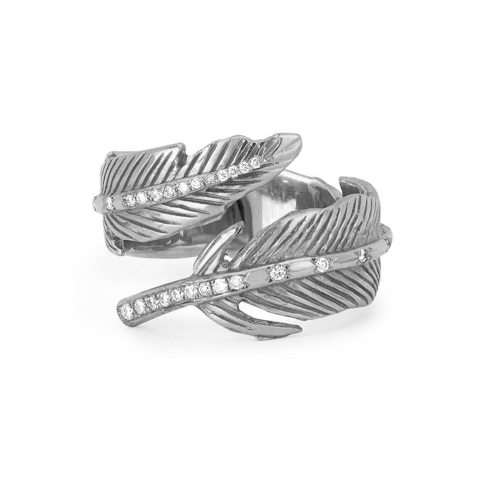 Angel Feather Wrap Ring White Gold