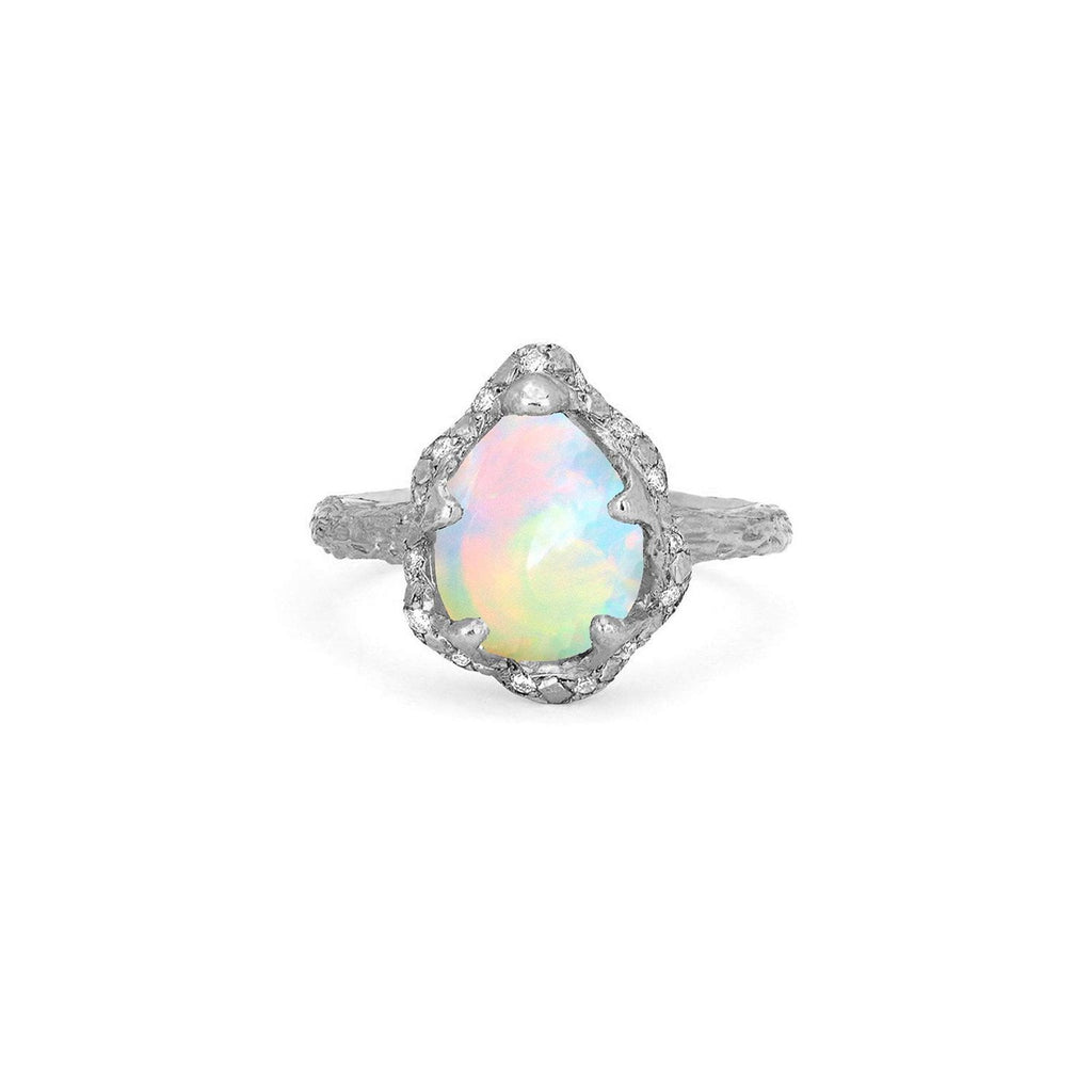 Baby Queen Water Drop White Opal Ring with Sprinkled Diamonds Baby Queen Water Drop White Opal Ring with Sprinkled Diamonds